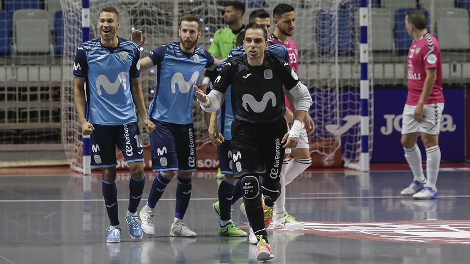 Jesús Herrero, Pola y Pito, celebran un gol de Movistar Inter.