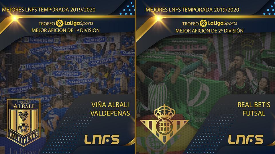Viña Albali Valdepeñas y Real Betis Futsal, Trofeo LaLigaSports a las Mejores Aficiones de Primera y Segunda División la temporada 2019/20