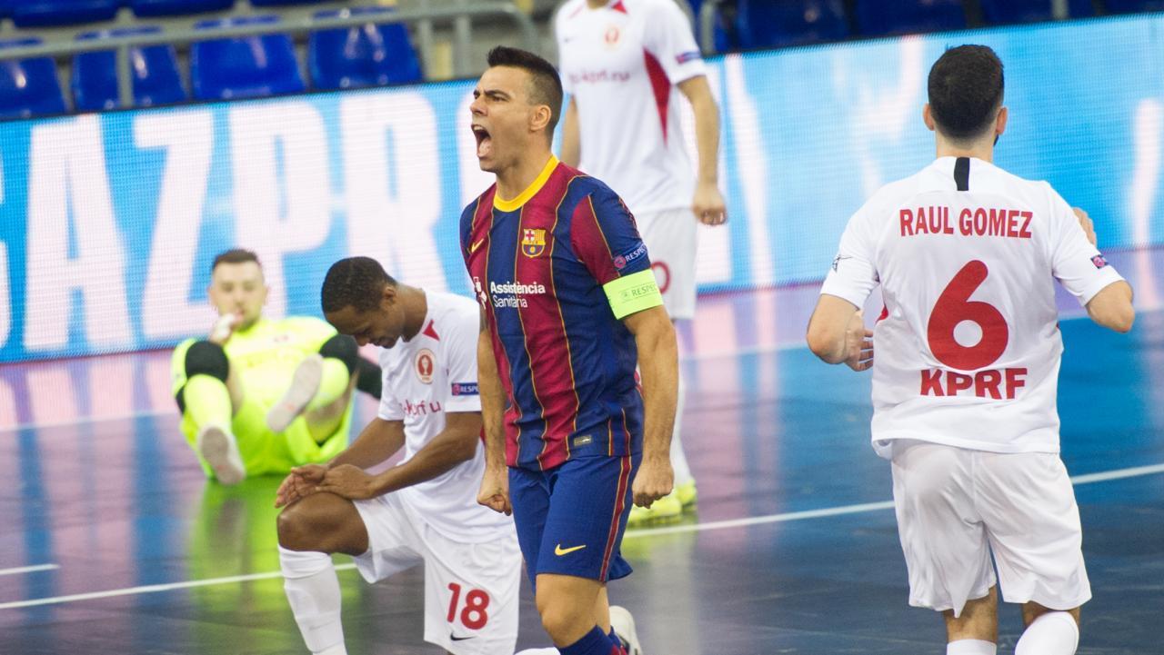 Sergio Lozano, del Barça, celebra un gol (Fotografía: Ernesto Aradilla)