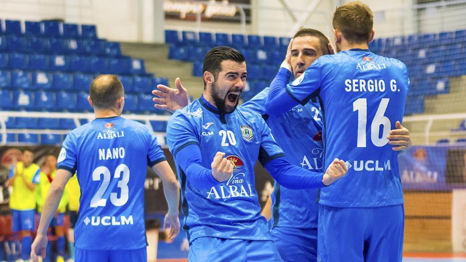 Los jugadores del Viña Albali Valdepeñas celebran un gol (Fotografia: ACP-FSV)