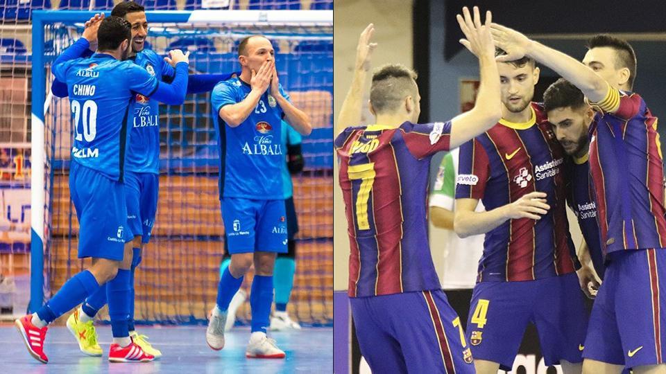 Los jugadores del Viña Albali Valdepeñas y Barça celebran un gol.