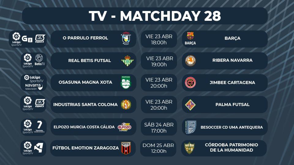 ¡Seis partidos televisados en la Jornada 28 de Primera División!