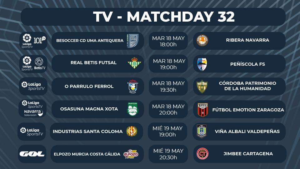 ¡Seis partidazos televisados en la Jornada 32 de Primera División!
