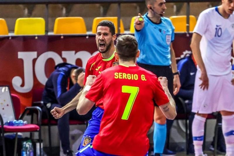 Raúl Campos celebra un gol con la Selección Española. Foto: EFE