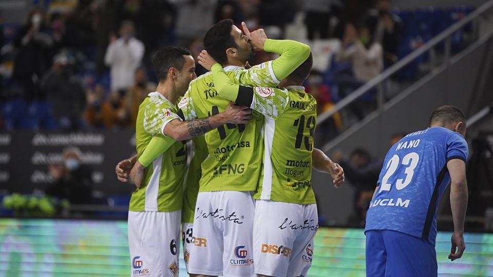 Los jugadores de Palma Futsal celebran un tanto.