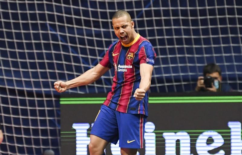 Ferrao, del Barça, celebra un gol en la UEFA Futsal Championes League