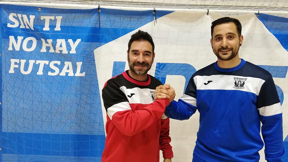 Andres Parada (izq.), director deportivo del CD Leganés FS, junto al jugador Pablo Palomares.