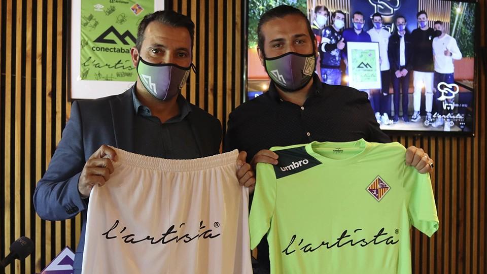 José Tirado, director general del Palma Futsal, y Leonardo Melucci, CEO de L'Artista Group.