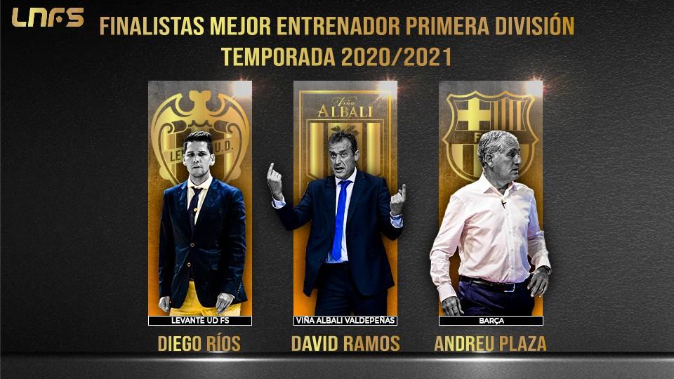 Diego Ríos, David Ramos y Andreu Plaza: Nominados al 'Mejor Entrenador de Primera División' de la Temporada 20/21