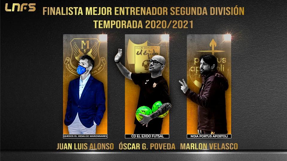 Juanlu Alonso, Marlon Velasco y Óscar G. Poveda: Nominados al 'Mejor Entrenador de Segunda División' la Temporada 20/21