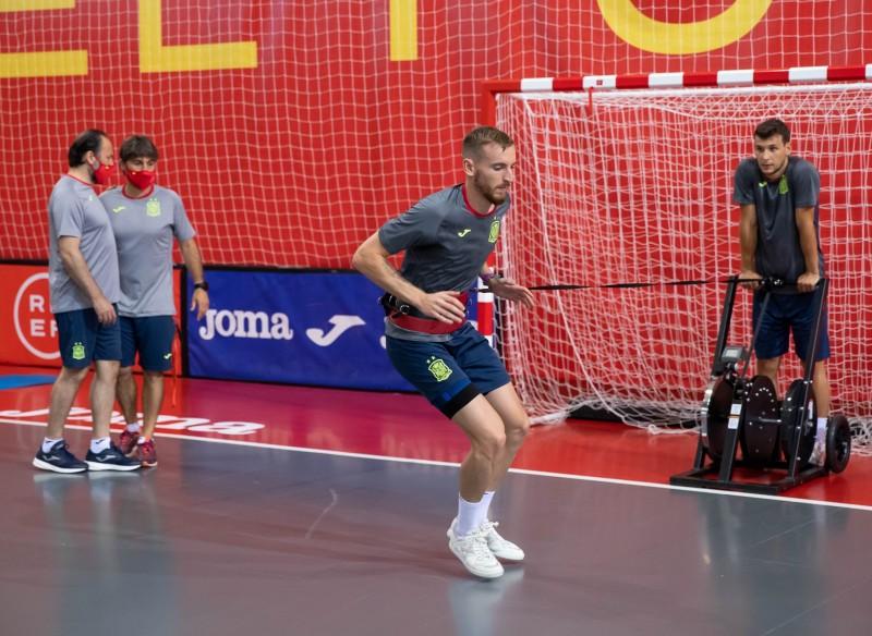 Sergio González y Eric Perez, durante un entrenamiento de la Selección Española