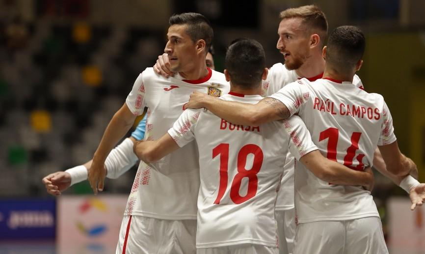 Ortiz, Borja, Raúl Campos y Sergio González celebran un gol de España. Foto: RFEF