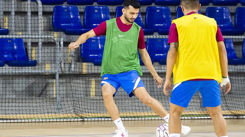 Esquerdinha, jugador del Barça, durante un entrenamiento