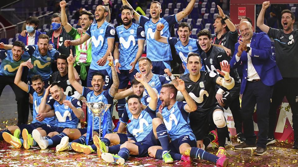 Inter FS celebra la consecución de la Copa de España.