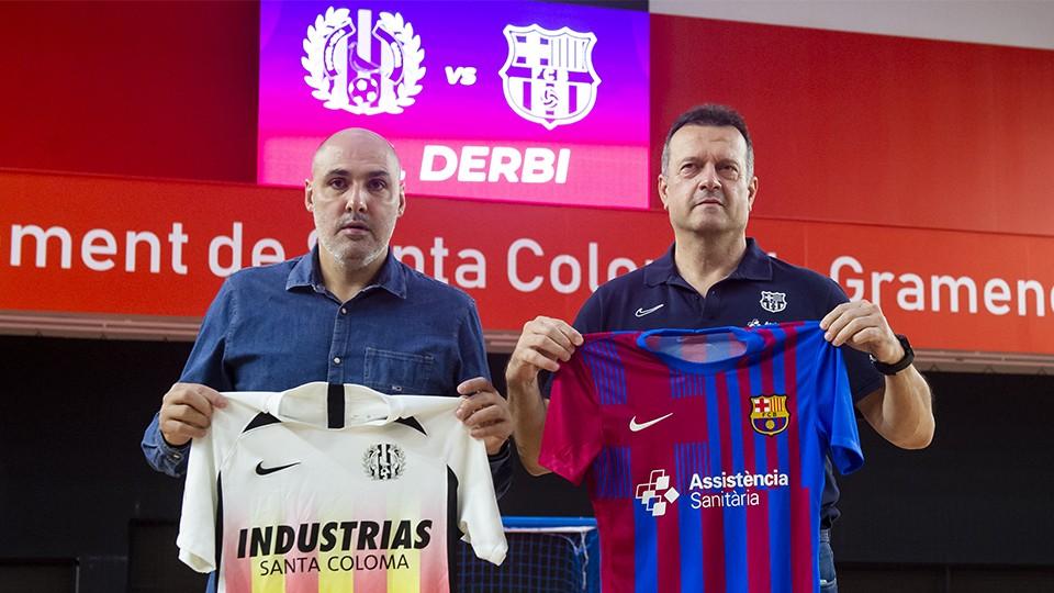 Javi Rodríguez, entrenador de Industrias Santa Coloma, posa junto a Jesús Velasco, entrenador del Barça.